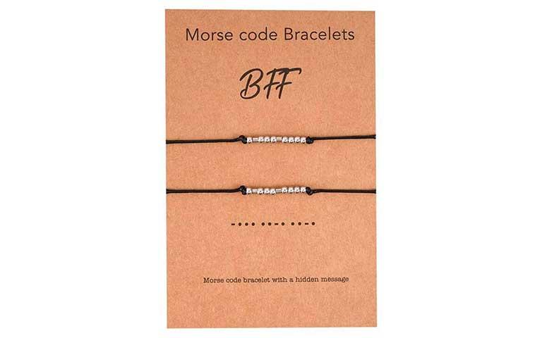 pulseras de mejores amigas en con código morse, regalos para tu mejor amiga